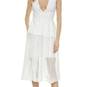Nicholas grid lace dress in white size 8 (small)